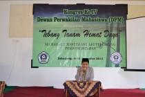 Ketua BEM, Aswiyanto, memberikan sambutan (foto;Fatih)